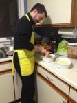 Jordan making pupusas