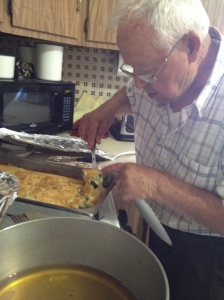 Christos making spanakopita