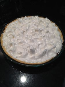 Lemon pie finished before cooking
