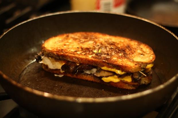 Vegan Reuben toasting